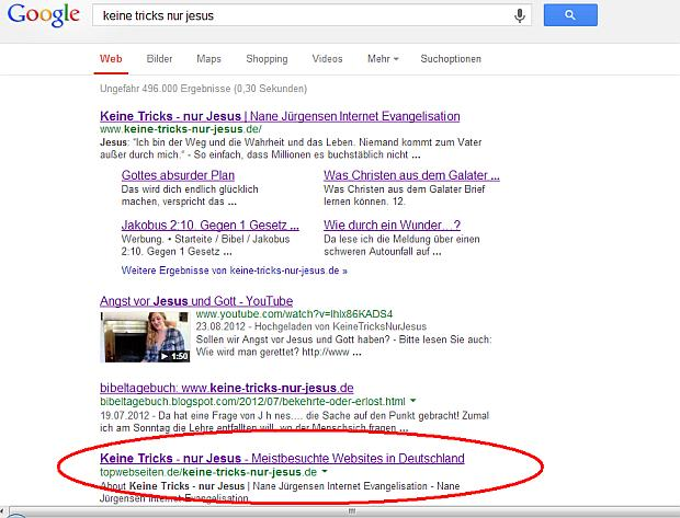 Screenshot Google Suche am 11. September 2013