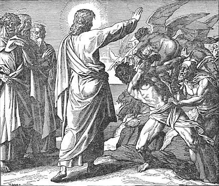Jesus treibt Dämonen in eine Schweineherde Gemälde (1860) von Julius Schnorr von Carolsfeld (1794 – 1872) - Quelle: Wikipedia, Public Domain