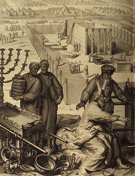 Bau vom Offenbarungszelt (Quelle: Figures de la Bible, 1728; Public Domain)