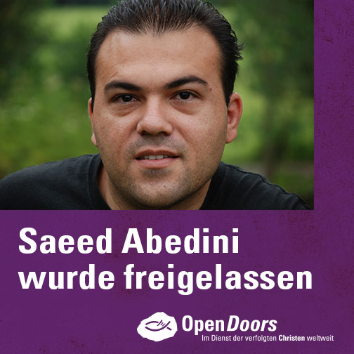 Im September 2012 war der Familienvater zu acht Jahren Haft verurteilt worden. Nun wurde Saeed Abedini am 16. Januar 2016 aus dem Gefängnis entlassen. (Fotografik: Open Doors)