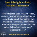 Jesus ist kein Neger. Und es gibt kein Parallel-Universum