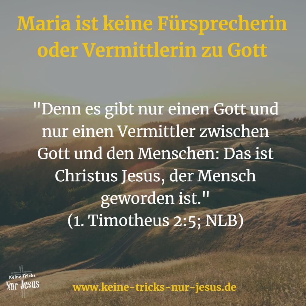 Maria, Mittlerin der Gnaden? Nein, es gibt nur Jesus als Mittler zwischen Gott und uns Menschen
