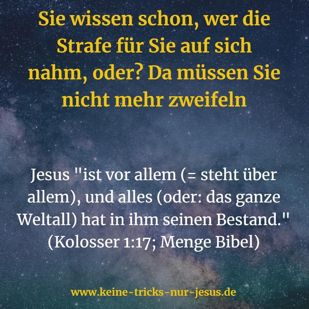 Durch Jesus das Heil erlangt und die Befreiung von der Herrschaft aller Geistermächte