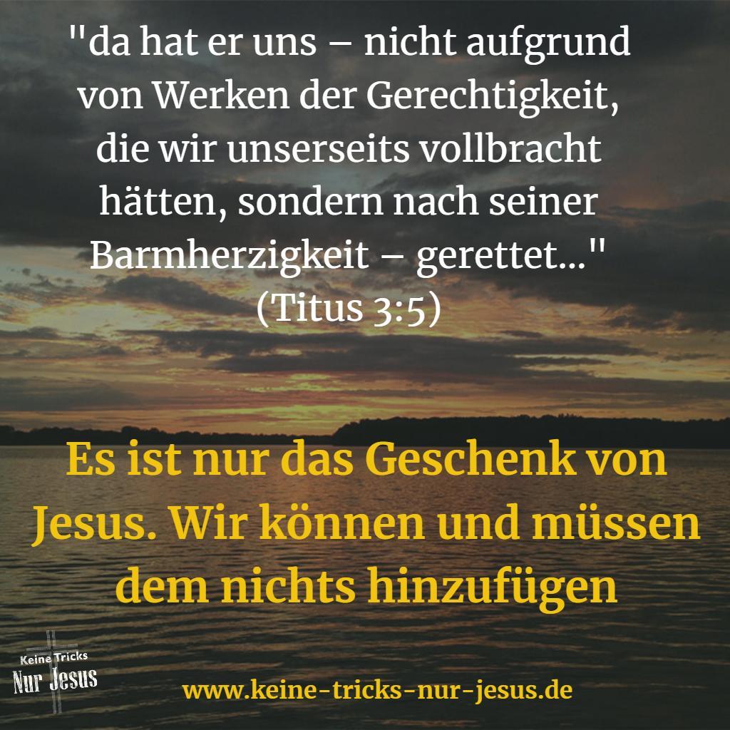 Nicht wir und unser Bemühen, sondern nur die Gnade von Gott rettet uns, Titus 3:5
