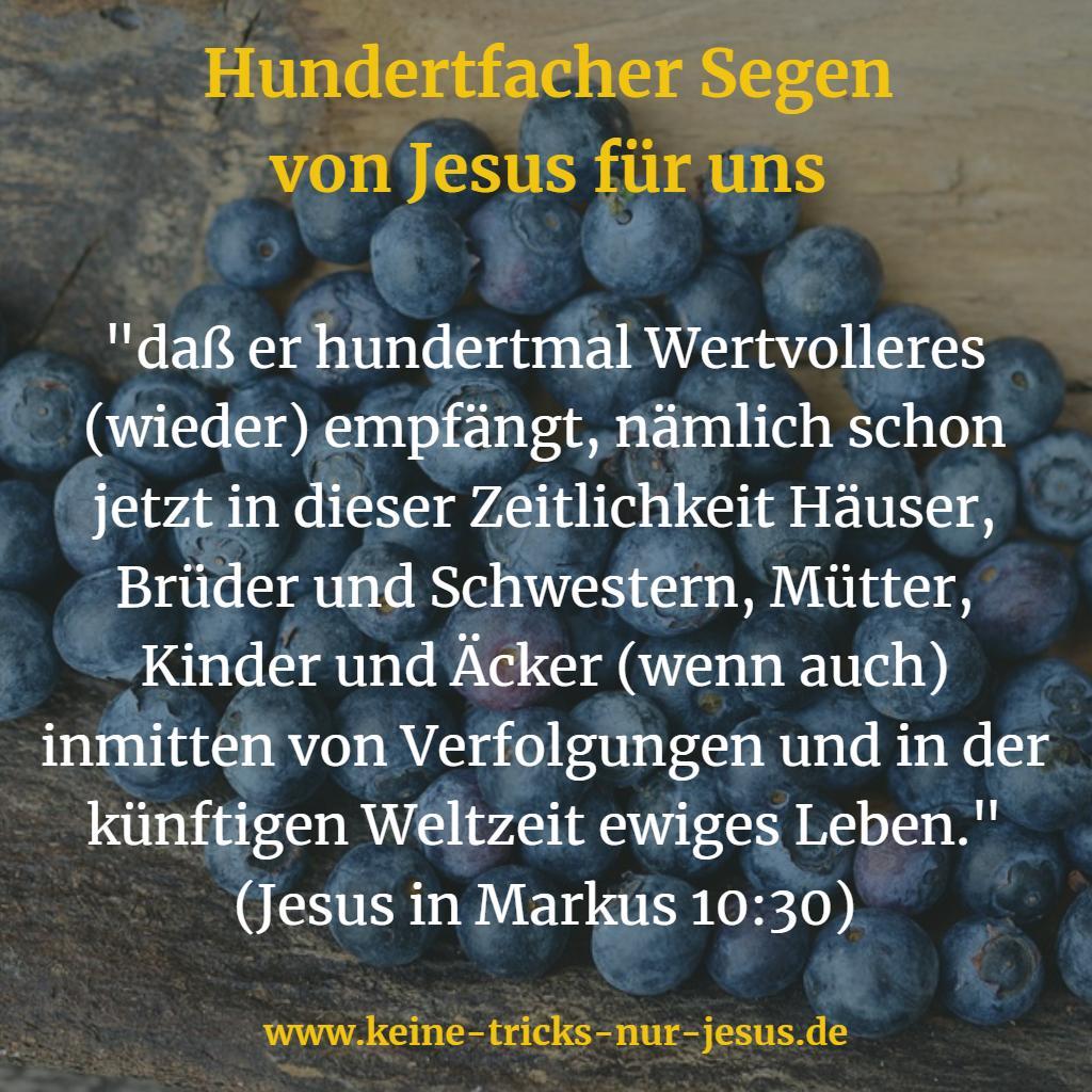 Hundertfacher Segen von  Jesus